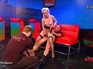 Cute fair-haired gangbang girl takes on all about the cocks