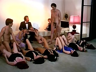 Vintage sex orgy action with horny making of girls