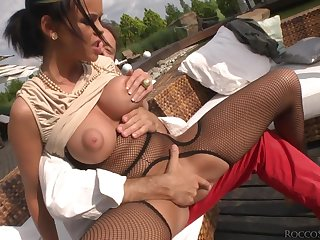 Flexible whore fucked up the ass apart from a really big black cock