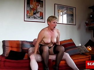 Blonde, Boobs, Cum, Cumshot, Doggystyle, Hardcore, Lingerie, Mature, Old, Stockings