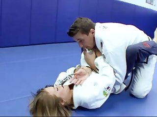 Ultra-Kinky Karate college girls smashes with her tutor after a superb karate session