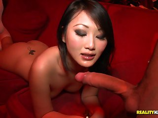 Slim chinese damsel in knee highs takes wood from the back in resuscitate