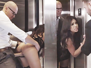 Sneaky GF cheating with their way big-dicked boss in an elevator