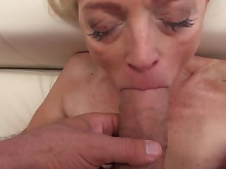 Attractive babe and stunning granny have fun with chubby cocks