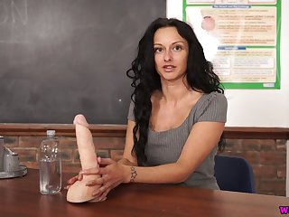Ardent curly black head Cassie Clarke is eager to striptease a bit