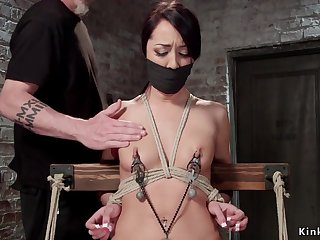 Sombre Hair cunt toyed in hogtie