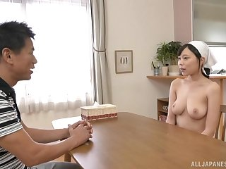 Busty Japanese maid Shiraishi Rin wants cum on their way huge knockers
