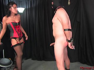 Cloudy Mistress Haley spanks and pegs her mature male slave