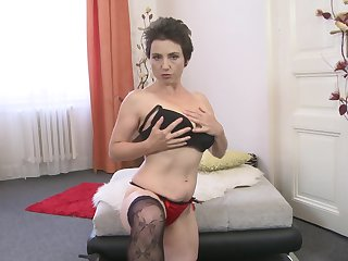 Unanticipated haired MILF Ailana takes off her dress and masturbates