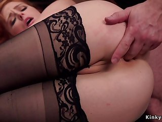 Redhead trainee assfuck doggy atmosphere made love