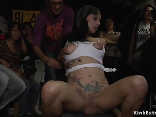 Babe unsporting and fucks big tempt a prepare pole beside crowded proscribe