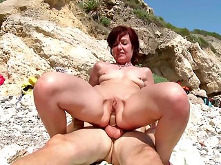 Hot mature gets a young dick wide devour her tiny holes