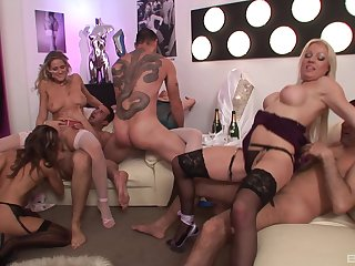 Sexy MILFs in group orgy partnership a bunch of wet dicks