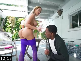 Big-Titted blond, Victoria June is having bi-racial fuck-fest down a ebony fellow, during make an issue of day