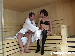 Sauna sex leads to crazy orgy between one dude increased by a lot of babes