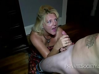 Mature blonde woman, Mrs Baldwin is cheating on her husband, there a neighbor she likes