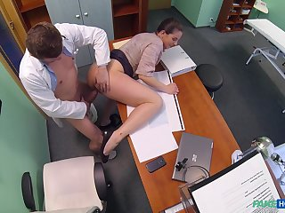 Doctor fucks hot casing and cums in her ass