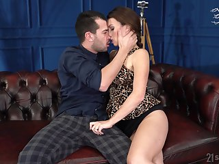 Sexy French teacher Tiffany Doll gives a blowjob and allows to sink soaked pussy