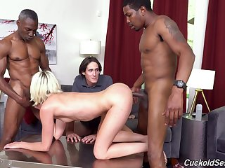 Two black guys fuck Zoe Sparx in front of her nerd cuckold husband