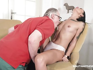 Seductive brunette tries patriarch inches into her messy holes