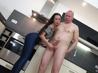 Brunette, Couple, Handjob, Hardcore, Long hair, Old, Teen