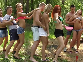 Dirty-minded babes enjoy champagne and college DP, attaching 1