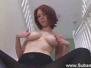 MILF Ellie Rose drops her clothes to play on transmitted to stairs. HD