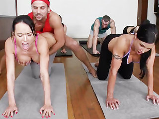 Voluptuous yoga beauties getting fucked in a foursome