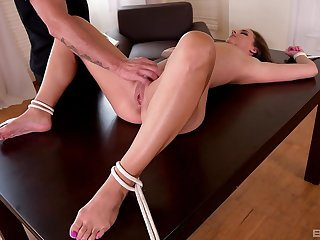 Submissive brunette Lucy Heart spanked and fucked while tied up